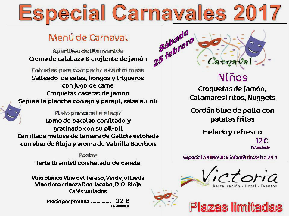 Menú especial Carnaval 2017